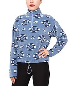 Juniors' Printed Half-Zip Fleece Top