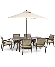 """Kathan Outdoor Aluminum 7-Pc Dining Set (84"""" x 42 Rectangle Dining Table, 6 Dining Chairs) with Sunbrella® Cushions, Created for Macy's"""