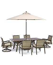 """Kathan Outdoor Aluminum 7-Pc Dining Set (84"""" x 42 Rectangle Dining Table, 4  Dining Chairs, 2 Swivel Chairs) with Sunbrella® Fabric, Created for Macy's"""