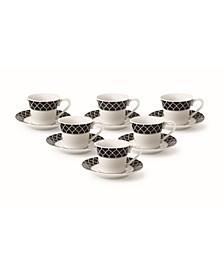 12 Piece 2oz Espresso Cup and Saucer Set, Service for 6