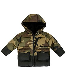 Baby Boys Heavy Weight Camo Colorblocked Puffer Jacket