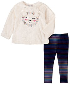 2 Piece Toddler Girls Faux Fur Lion Face Top with Stripe Legging Set