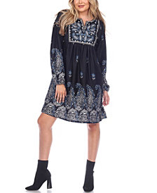 White Mark Women's Apolline Embroidered Sweater Dress