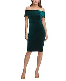 Off-The-Shoulder Velvet Sheath Dress