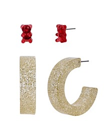 Festive Gummy Bear Stud Hoop Earrings Set