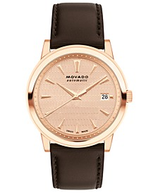 Men's Swiss Automatic Heritage Brown Leather Strap Watch 40mm