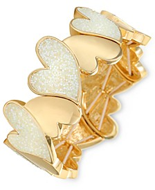 INC Gold-Tone Bead Heart Stretch Bracelet, Created for Macy's