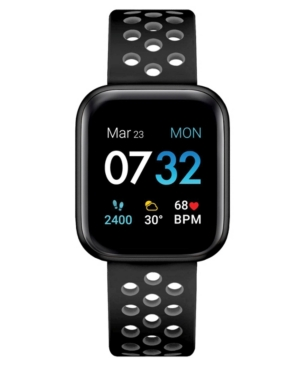 Air 3 Unisex Touchscreen Smartwatch Fitness Tracker: Black Case with Black/Grey Perforated Strap 44mm