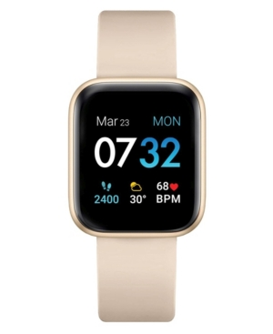 Air 3 Women's Touchscreen Smartwatch Fitness Tracker: Gold Case with Beige Strap 40mm