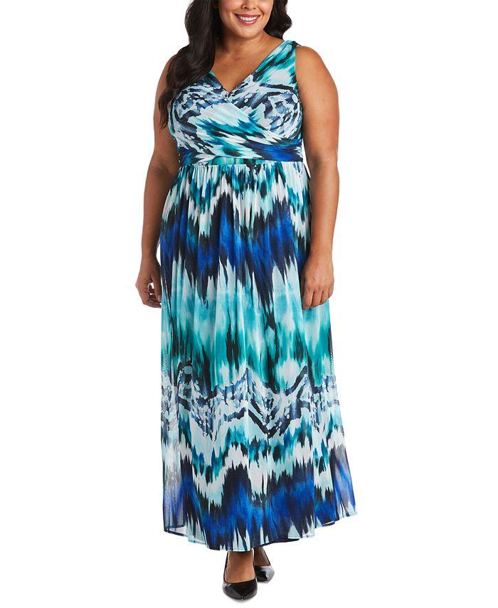 R & M Richards - Plus Size Tie-Dyed Maxi Dress