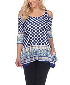 Women's Printed Cold Shoulder Tunic Top