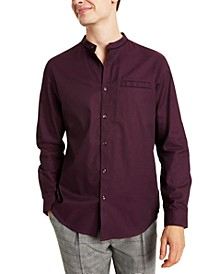 Men's Classic/Regular-Fit Band-Collar Shirt, Created for Macy's