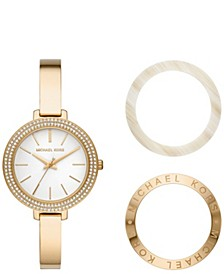 Women's Jaryn Gold-Tone Stainless Steel Bangle Watch Giftset 36mm