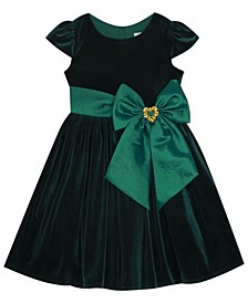 Toddler Girl Velvet Dress With Taffeta Waistband And Bow