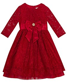 Big Girl Lace 3/4'' Sleeve Dress With Mesh Ruffle