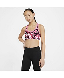Swoosh Big Girl's Printed Reversible Sports Bra