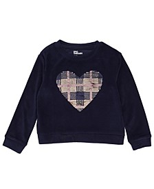 Little Girls Long Sleeve Flip Sequin Heart Velour Top
