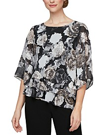 Triple-Tier Chiffon Burnout Printed Top