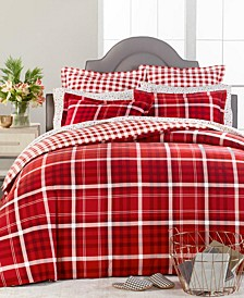Wyoming Plaid Flannel King Duvet Cover, Created for Macys