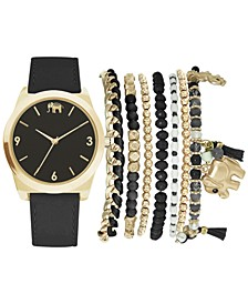 Women's Black Polyurethane Strap Watch 36mm Gift Set