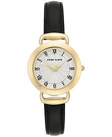 Women's Black Leather Strap Watch 30mm