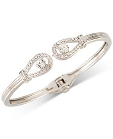 Silver-Tone Stone & Pavé Open Hinge Bracelet, Created for Macy's