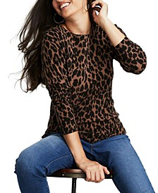 Plus Size Animal-Print Sweater, Created for Macy's