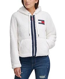 Cropped Fleece Zip-Up Hooded Jacket
