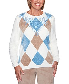 Petite Dover Cliffs Argyle Floral-Yoke Embroidered Sweater