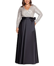 Plus Size Sequin-Top Ball Gown