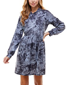 Juniors' Tie-Dyed Hoodie Fit & Flare Dress