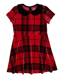 Toddler Girls Short Sleeve All Over Checkered Print Collared Dress