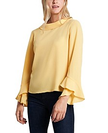 Plus Long Sleeve Flutter Cuff Blouse