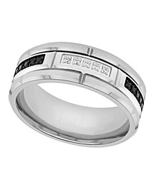 Men's Black and White Certified Diamond Tungsten Wedding Band