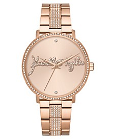 Women's Rose Gold Tone Crystal Signature Stainless Steel Strap Analog Watch 40mm