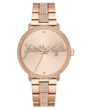 Women's Kendall + Kylie Rose Gold Tone Crystal Signature Stainless Steel Strap Analog Watch 40mm