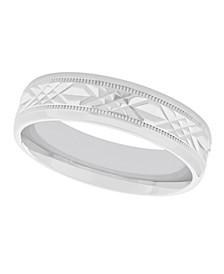 Unisex Geometric Milgrain 925 Sterling Silver Wedding Band