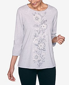 Women's Madison Avenue Centre Floral Embroidered Top