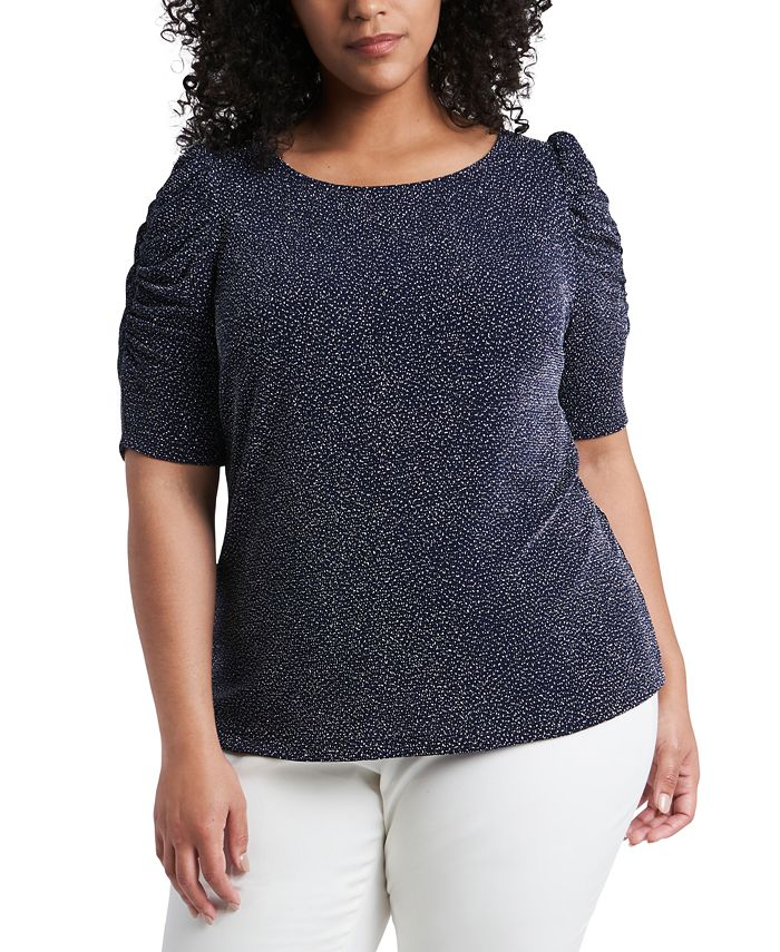 MSK - Plus Size Caterpillar-Sleeve Sparkle Knit Top