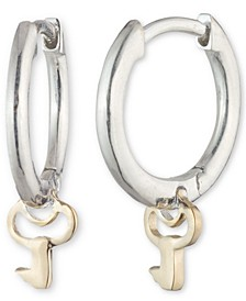 Key Dangle Hoop Earrings in Sterling Silver & 14k Gold-Plate