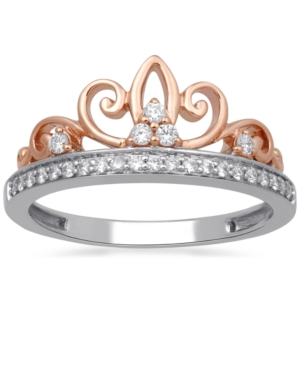 Diamond Tiara Ring (1/5 ct. t.w.) in Sterling Silver & Rose Gold-Plate