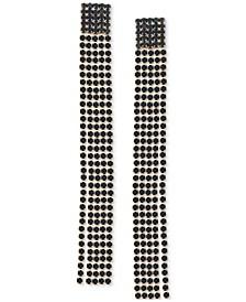 Gold-Tone Jet Stone Linear Chain Earrings