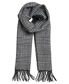 Men's Plaid to Solid Reversible Fringe Scarf