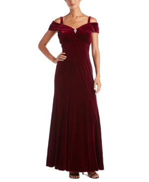 1950s History of Prom, Party, and Formal Dresses R  M Richards Petite Off-The-Shoulder Velvet Gown $89.99 AT vintagedancer.com