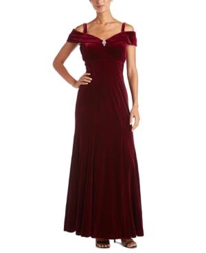 1940s Evening, Prom, Party, Formal, Ball Gowns R  M Richards Petite Off-The-Shoulder Velvet Gown $89.99 AT vintagedancer.com