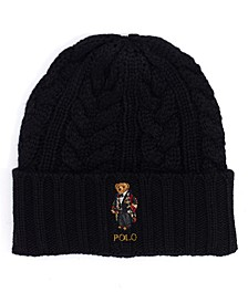 Men's Cable-Knit Bear Logo Beanie Hat