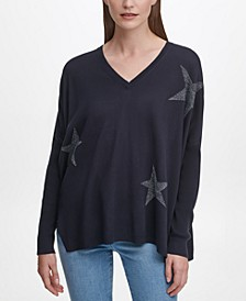 Star-Print Drop-Shoulder Sweater