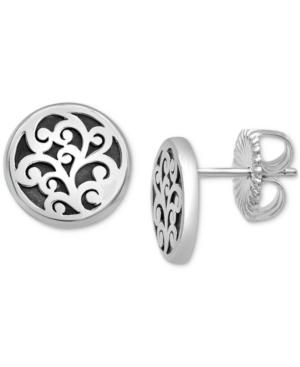 Scrollwork Stud Earrings in Sterling Silver