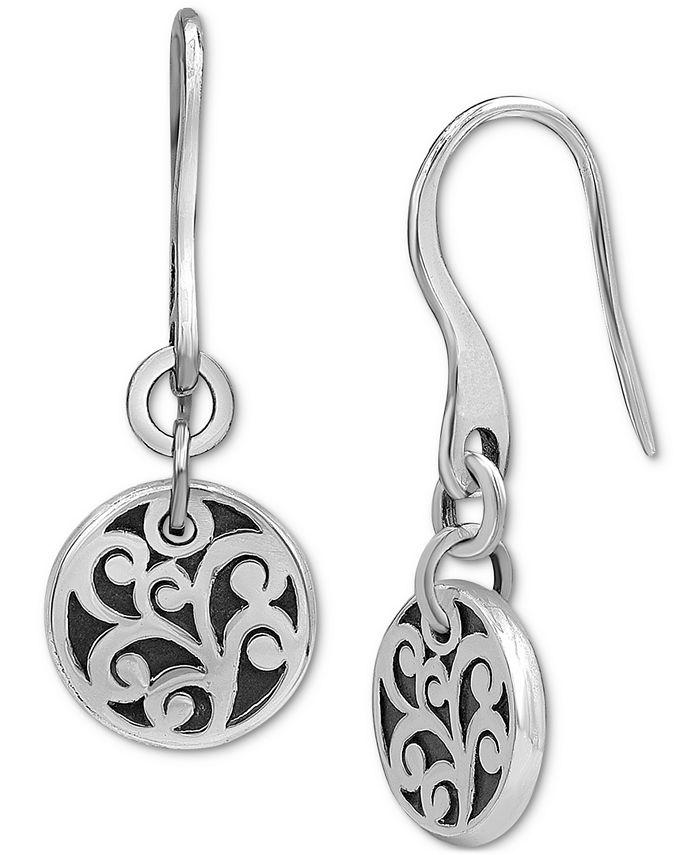 Lois Hill - Decorative Scroll Disc Drop Earrings in Sterling Silver