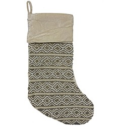 "Diamond Stripe Beaded Velvet Christmas Stocking, 8"" X 22"""